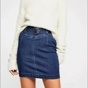 Free People denim belted mini pencil skirt size 2